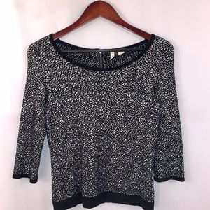 Anthropologie Moth Top Black White Sweater Size S